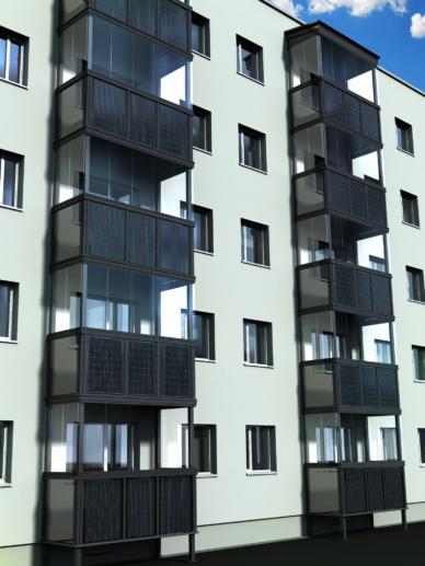 Integreeritud päikesepaneelidega rõdupiirde terviklik rekonstrueerimislahendus kortermajadele